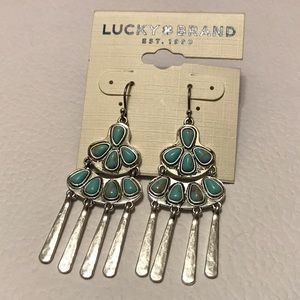 NWT Silver & Turquoise Lucky Brand Earrings